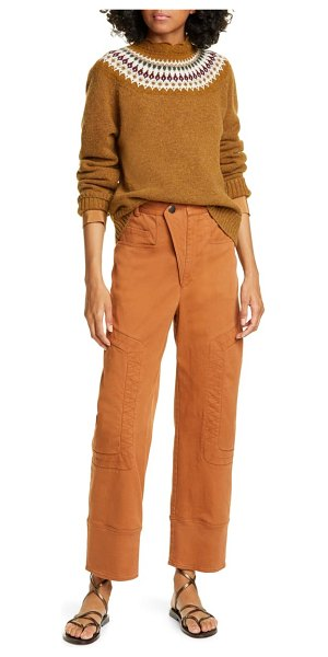 Sea kali zigzag stitch crop denim pants in cognac