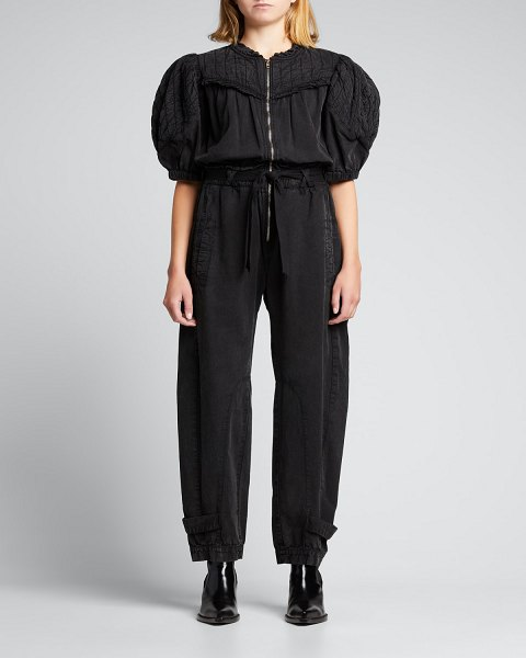 Sea Layla Quilted-Sleeve Jumpsuit in black