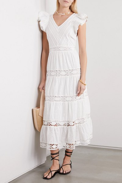 Sea lea crochet-trimmed ruffled broderie anglaise cotton maxi dress in white
