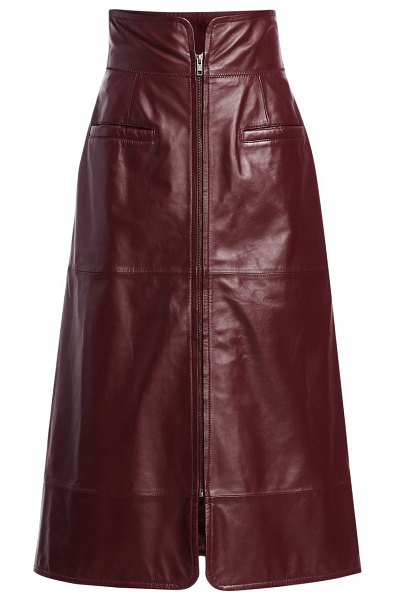 Sea lidia a-line leather skirt in burgundy