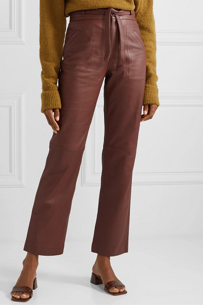 Sea lidia belted leather straight-leg pants in chocolate