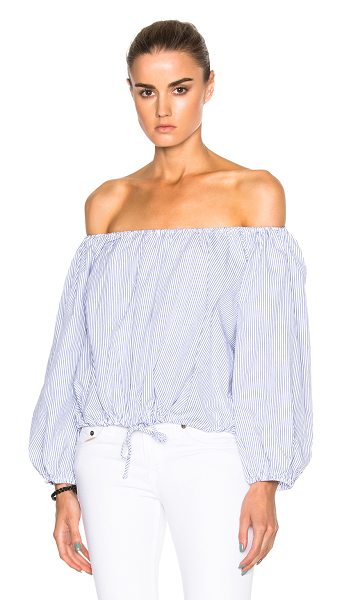 Sea Peasant Top in blue,white,stripes - 100% cotton.  Made in USA.  Dry clean only.  Drawstring...