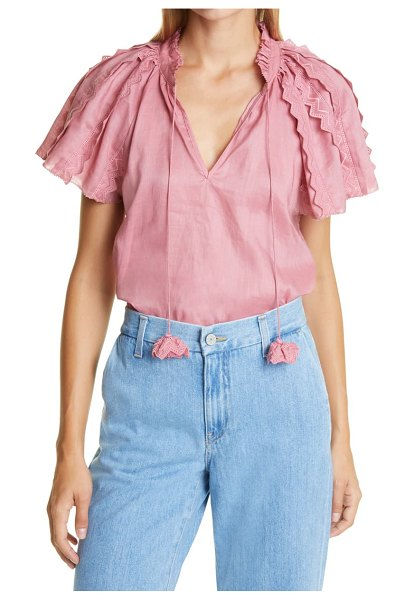 Sea scalloped lace ruffle cotton top in rose