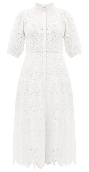 Sea zippy broderie-anglaise cotton dress in white