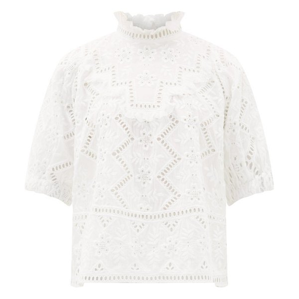 Sea zippy ruffle-neck broderie-anglaise blouse in white