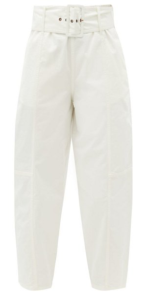 See By Chloe belted cotton-blend twill trousers in white