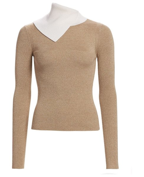 See By Chloe bicolor rib-knit merino wool sweater in beige white