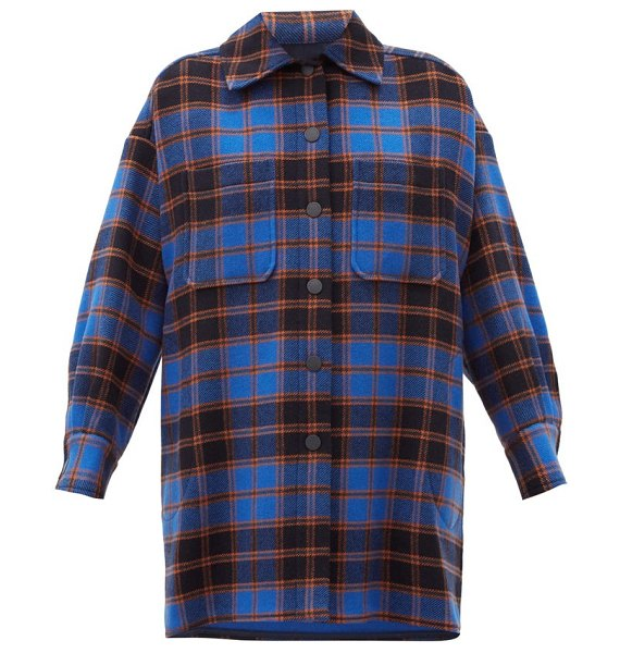 See By Chloe checked wool-blend flannel shirt jacket in blue multi