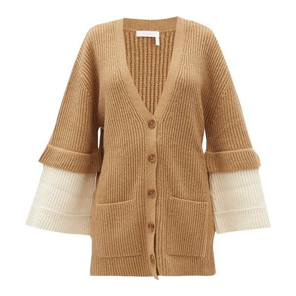 See By Chloe contrast-cuff ribbed-knit cardigan in beige