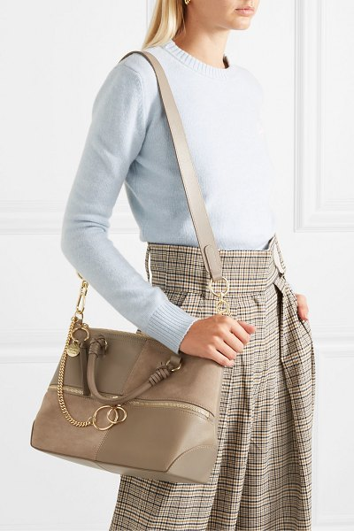 See By Chloe emy leather and suede shoulder bag in gray