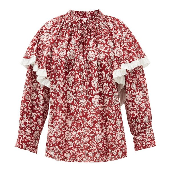 See By Chloe floral-print cotton-voile blouse in red white