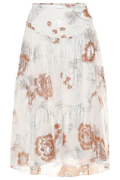 See By Chloe floral silk and cotton midi skirt in white