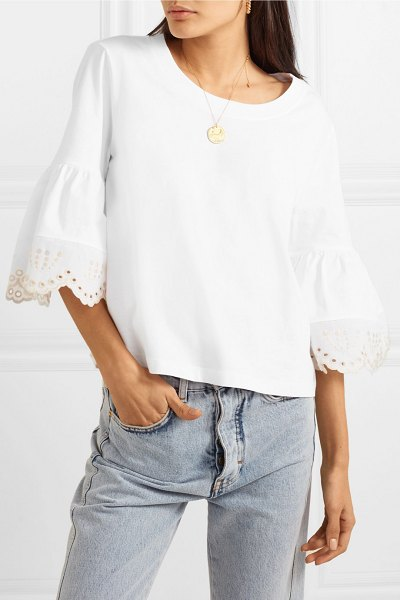 See By Chloe fluted broderie anglaise cotton-jersey top in white - For Spring '19, See By Chloé looks to sun-soaked Miami...