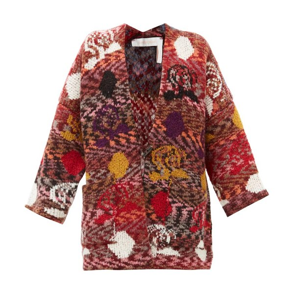 See By Chloe jacquard-patterned v-neck cardigan in multi