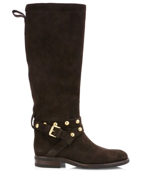 See By Chloe janis studded suede tall boots in graphite