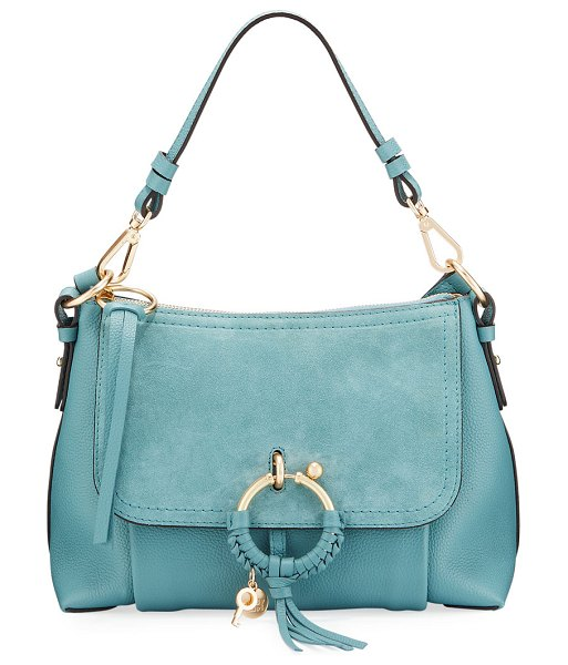 See By Chloe Joan Small Mixed Leather Crossbody Bag in blue