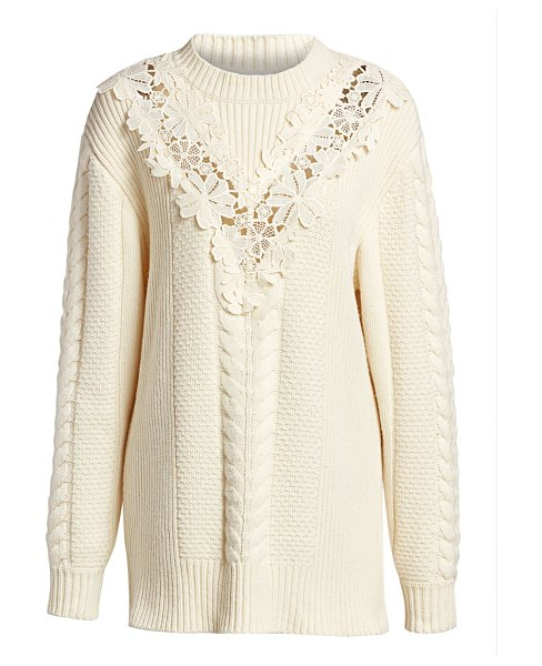 See By Chloe lace panel cableknit sweater in shell yellow