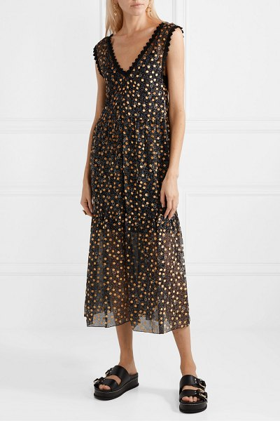 See By Chloe lace-trimmed flocked floral-print silk-chiffon midi dress in black
