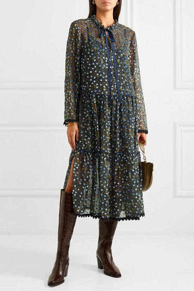See By Chloe lace-trimmed flocked floral-print silk-chiffon midi dress in blue