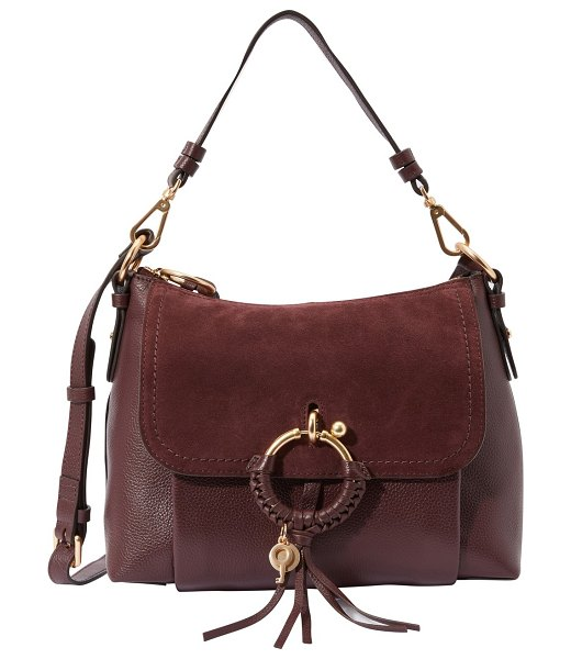 See By Chloe Leather and suede Joan shoulder bag in burgundy