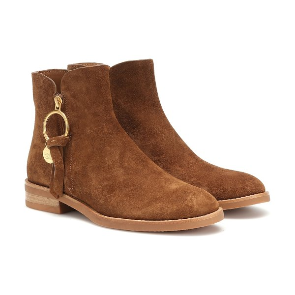 See By Chloe louise flat suede ankle boots in brown