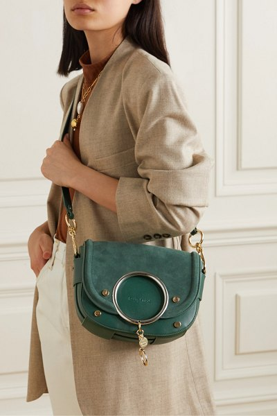 See By Chloe mara embellished suede and leather shoulder bag in emerald