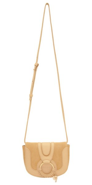 "See By Chloe Mini Hana Bag in beige - ""Grained leather and suede shoulder bag in 'straw'..."