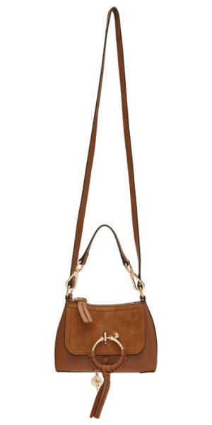 "See By Chloe Mini Joan Bag in brown - ""Grained leather shoulder bag in 'caramel' brown. Tonal..."
