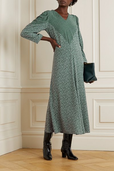 See By Chloe paneled printed crepe maxi dress in green