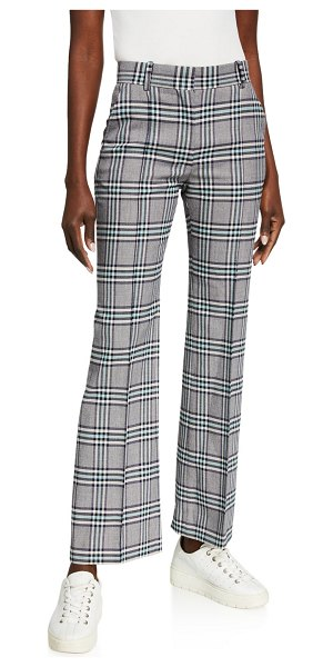 See By Chloe Plaid Straight-Leg Pants in blue pattern