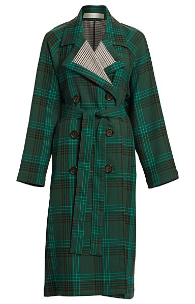 See By Chloe plaid trench coat in multicolor green