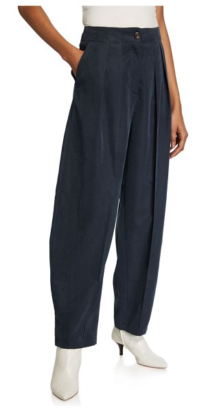 See By Chloe Pleated Wide-Leg Trousers in navy