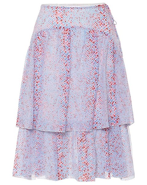 See By Chloe printed cotton and silk midi skirt in blue