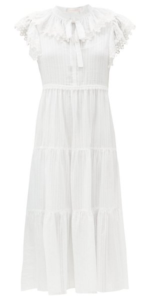 See By Chloe ruffled cotton-voile midi dress in white