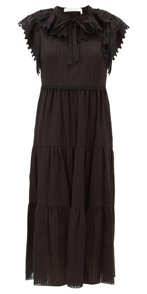 See By Chloe ruffled cotton-voile midi dress in black