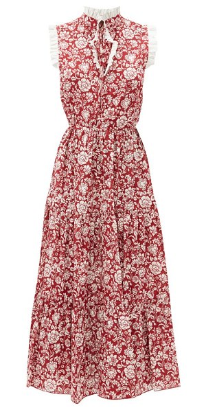 See By Chloe ruffled floral-print cotton dress in red white