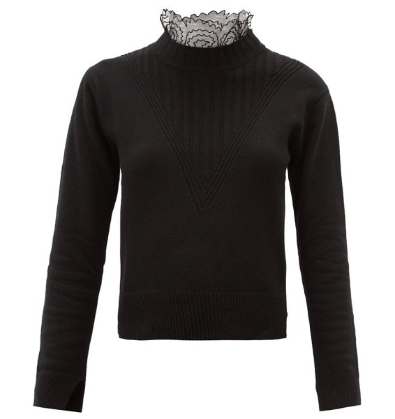 See By Chloe scalloped-collar knitted sweater in black