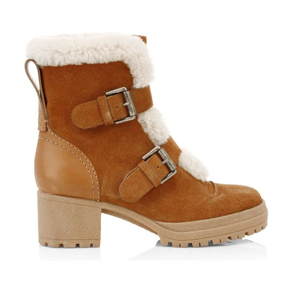 See By Chloe shearling-lined suede hiking boots in tan