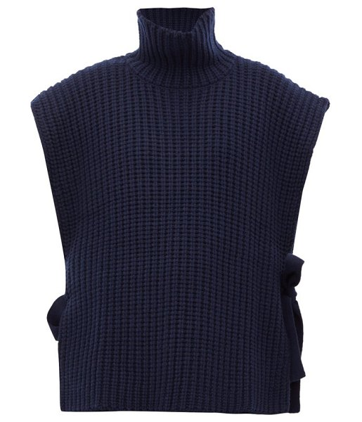 See By Chloe side tie ribbed high neck sweater in navy