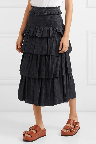 See By Chloe tiered denim midi skirt in midnight blue - See By Chloé's Spring '19 collection is inspired by...
