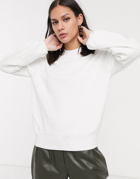 Selected femme sweater with balloon sleeve in white in white