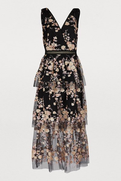 self-portrait Floral dress in black