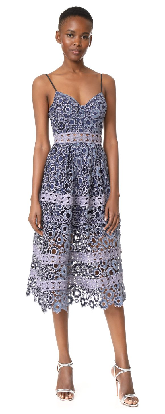 SELF-PORTRAIT floral embroidery cutout midi dress - This charming Self Portrait dress is composed of signature...