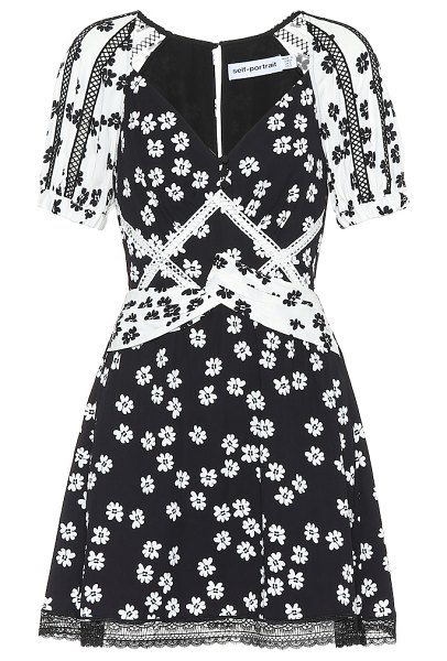 self-portrait floral minidress in black