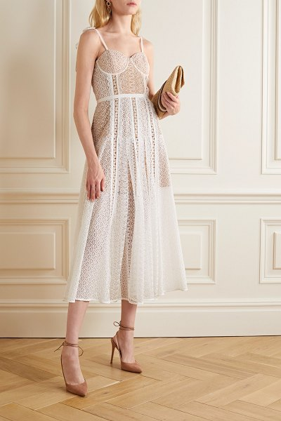 self-portrait grosgrain-trimmed paneled lace midi dress in white