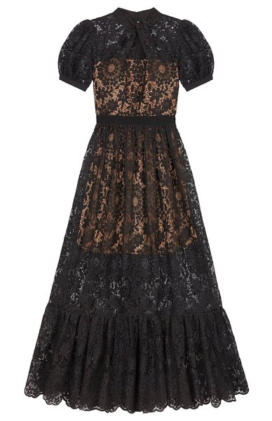 self-portrait puff-sleeved guipure-lace dress in black