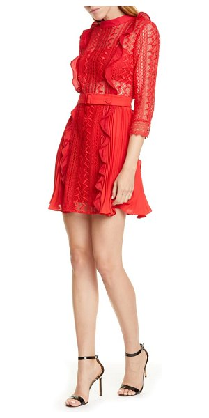 self-portrait ruffle lace minidress in red