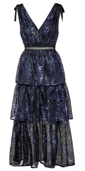 self-portrait sequined midi dress in blue
