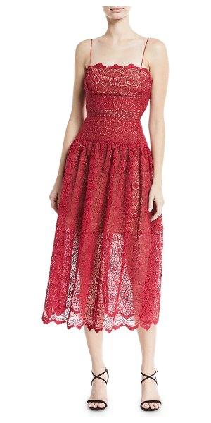 30cbf3eb1ce51 self-portrait Sleeveless Floral-Lace Midi Cocktail Dress in red - Self- Portrait