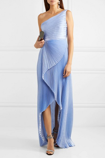SemSem one-shoulder asymmetric pleated silk and lurex-blend gown in blue